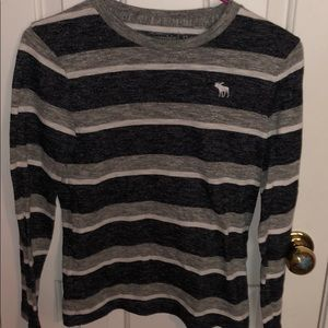 Abercrombie kids grey striped long sleeve shirt